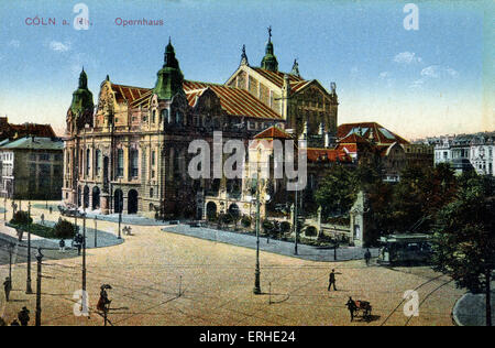 Cologne / Koln / Coln Opera house Early 20th century tinted postcard - Stock Photo