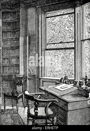 Charles Dickens - The study at Gadshill Place, near Rochester, where the British novelist lived and died 1812-1870. - Stock Photo