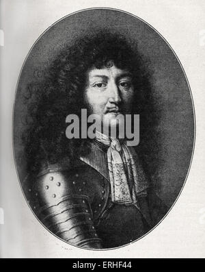 French king Louis XIV (1638-1715) - portrait in 1676, after an engraving by F. de Poilly. - Stock Photo