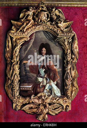 French king Louis XIV (1638-1715). Painting by Rigaud. Given by the king to Duc de Vendome. - Stock Photo