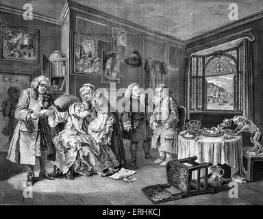 Marriage a la Mode, Suicide of the Countess  - engraving by William Hogarth, English painter and artist WH: 10 November - Stock Photo