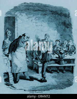 The Adventures of Oliver Twist by Charles Dickens - Oliver asking for more food.  Illustration by George Cruikshank. - Stock Photo