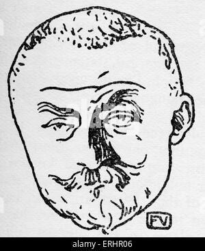 Joris Karl Huysmans - French novelist: 5 February 1848 – 12 May 1907. (Artist initials FV). - Stock Photo