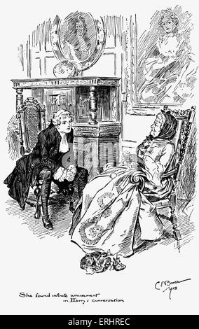 Madam Bernstein and Harry from  ' The Virginians'  - written by William Makepeace Thackeray. Drawing by Charles - Stock Photo