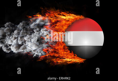 Concept of speed - Flag with a trail of fire and smoke - Yemen - Stock Photo