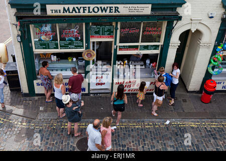 Overhead shot of the Mayflower , a popular shop in the Old Town, Leigh-On Sea Essex England United Kingdom Europe - Stock Photo