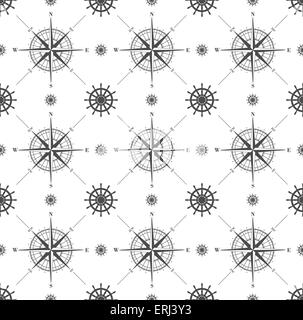 Seamless pattern with windroses and steering wheels  isolated on white. Vector illustration. - Stock Photo