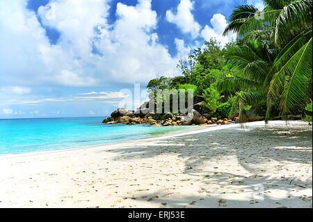 Anse Georgette, Beach on Island Praslin, Seychelles - Stock Photo