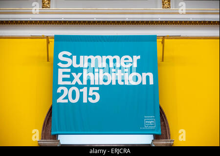 London, UK. 3 June 2015. The entry signs to the Summer Exhibition at the Royal Academy of Arts.  Held annually since - Stock Photo