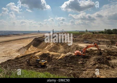Garzweiler II surface mine, excavators, Borschemich, North Rhine-Westphalia, Germany - Stock Photo