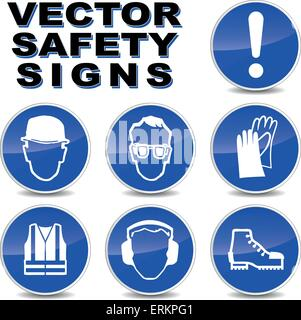 Vector illustration of safety signs on white background - Stock Photo