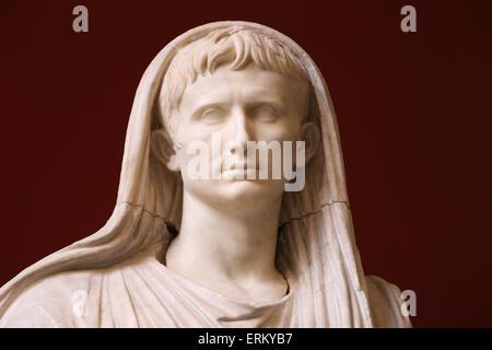 Via Labicana Augustus. Sculpture of the Roman Emperor Augustus (63BC-14AD) as Pontifex Maximus. 12BC. National Museum - Stock Photo