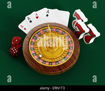 Roulette, dice, game cards and three sevens on green table cloth. - Stock Photo