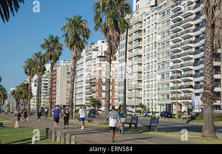 Seaside apartment blocks Montevideo Uruguay - Stock Photo