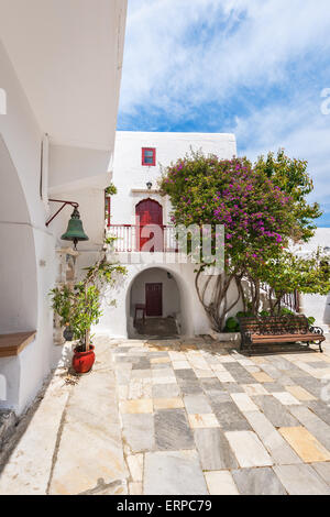 Patio of Panagia Tourliani Monastery in Ano Mera, Mykonos, Cyclades, Greece - Stock Photo