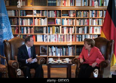 UN Secretary-General Ban Ki-moon and German Chancellor Angela Merkel hold a bilateral meeting at the G7 Summit June - Stock Photo