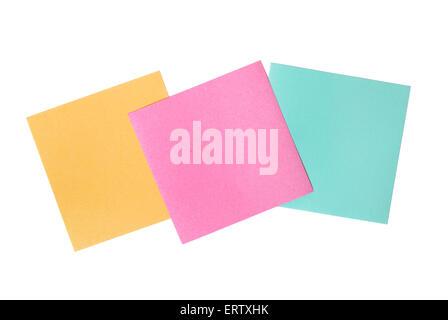 Three blank notes isolated on white background - Stock Photo