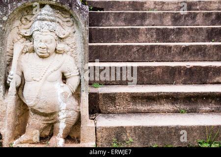 Ancient City of Anuradhapura, statue at The Royal Palace, Cultural Triangle, Sri Lanka, Asia - Stock Photo