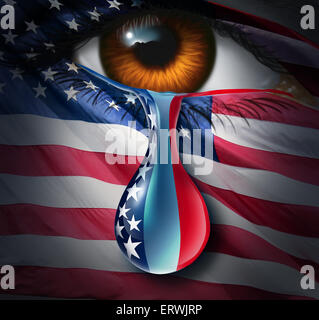 American social crisis and grief or violence in the United States concept as a human eye with a US flag crying a - Stock Photo