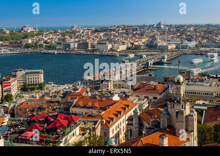 City skyline with Galata Bridge and Golden Horn, Istanbul, Turkey - Stock Photo
