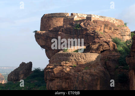 Circular watch Tower 14th century north fort in Badami ; Karnataka ; India - Stock Photo
