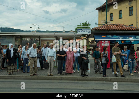 people waiting the tram in Sarajevo - Stock Photo