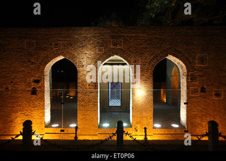 Bullet marks visible on preserved wall at Jalianwala Bagh ; Amritsar ; Punjab ; India - Stock Photo