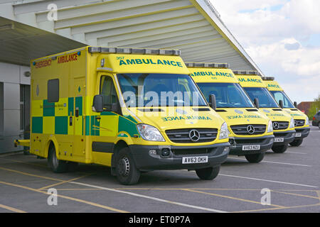 East Of England ambulance service Mercedes Benz NHS ambulances parked outside A&E hospital accident and emergency - Stock Photo
