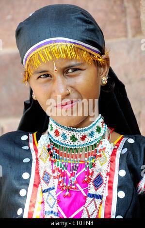 Portrait of  kalbeliya lady ; Rajasthan ; India Mr#786 - Stock Photo