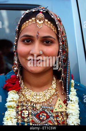 Rajasthani marwari woman in traditional dress ; Jodhpur ; Rajasthan ; India NO MR - Stock Photo