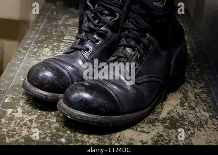 WWII era US military combat boots - USA - Stock Photo