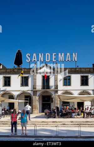 Sandeman cafe and wine lodge in Vila Nova de Gaia - Porto, Portugal - Stock Photo