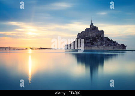 Mont-Saint-Michel at sunset, France, Europe. - Stock Photo