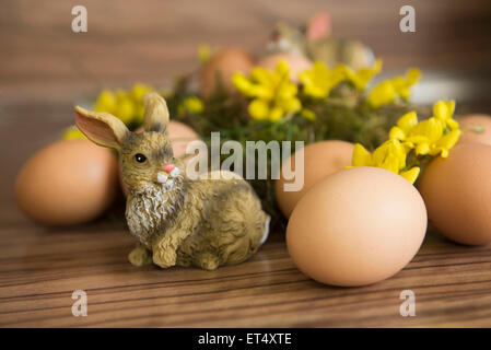 Close-up of an Easter bunny with Easter eggs, Munich, Bavaria, Germany - Stock Photo