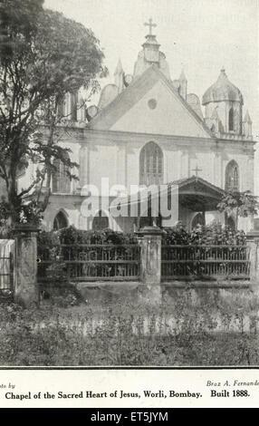 Catholic Community Chapel of Sacred Heart of Jesus built in 1888 ; Worli ; Bombay Mumbai ; Maharashtra ; India - Stock Photo