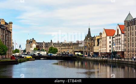 Shore and the Water of Leith. Leith, Edinburgh, Scotland, United Kingdom Europe. - Stock Photo