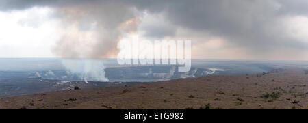 Panorama view of steam rising from Halema'uma'u Crater, Kilauea Caldera, Hawai'i Volcanoes National Park, Big Island, - Stock Photo