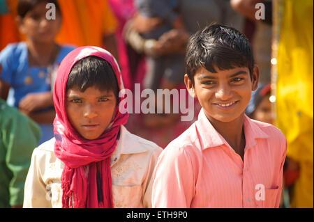 Portrait of Rajasthani boys, Pushkar, Rajasthan, India - Stock Photo