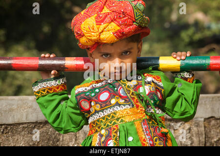 Indian boy dressed in traditional Rajasthani attire, Mount Abu, Rajasthan, India - Stock Photo
