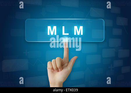 hand press on MLM or Multi Level Marketing button on virtual screen - Stock Photo