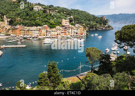 Outlook to the town Portofino, Italy - Stock Photo