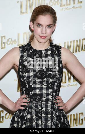 Press junket for Broadway play Living On Love held at the Empire Hotel.  Featuring: Anna Chlumsky Where: New York - Stock Photo
