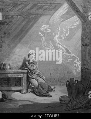 New Testament. The Annunciation. Luke 1:30. Engraving by Gustave Dore. 19th century. - Stock Photo