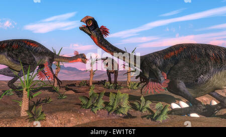 Tyrannosaurus rex attacking Gigantoraptor dinosaurs and their eggs. - Stock Photo