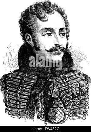 Lasalle, vintage engraved illustration. History of France – 1885. - Stock Photo