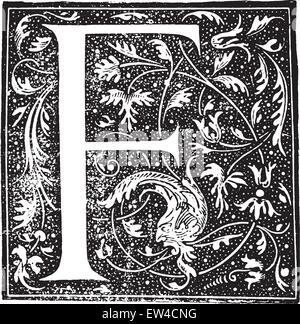 Ornate letter, vintage engraved illustration. Industrial encyclopedia E.-O. Lami - 1875. - Stock Photo