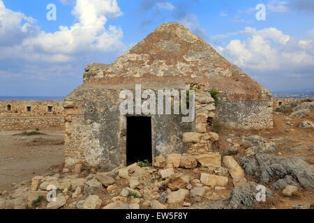 Rethymno, Greece, ruins of the Fortezza in Crete - Stock Photo