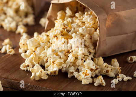 Homemade Kettle Corn Popcorn in a Bag - Stock Photo