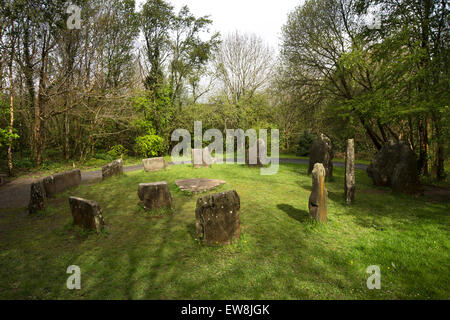 Ireland, Co Wexford, Irish National Heritage Park, Bronze Age Stone Circle - Stock Photo