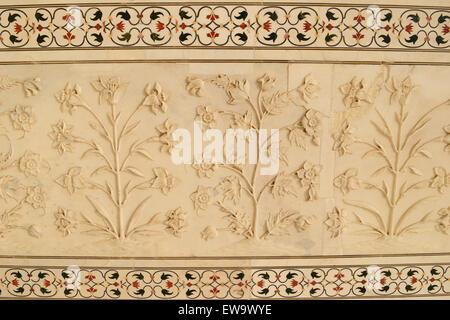 Taj Mahal marble Art Flowers Plants carving on Taj Mahal Marble Tiles taj mahal flower detail - Stock Photo